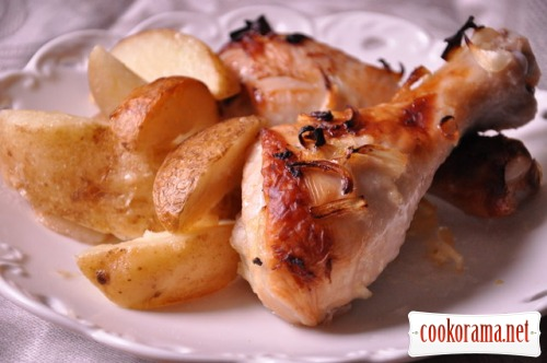 Куриные ножки с лаймом и имбирем с картофелем по-деревенски