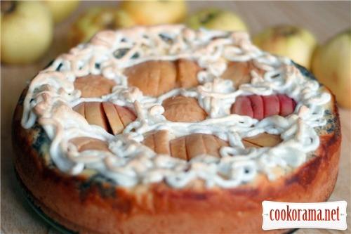 Творожно-маковый пирог с яблоками
