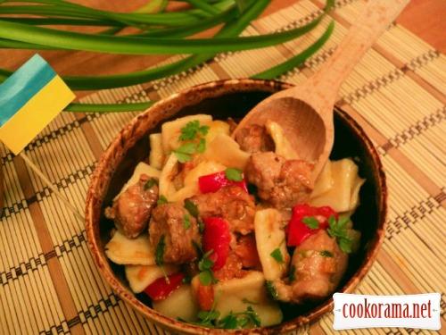 Душенина с овощами и галушками