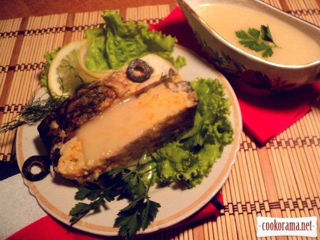 Фаршированный карп с соусом «Рыбный велюте»
