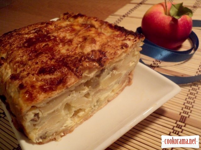 Pie from lavash with apples and grapes