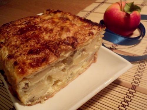 Пиріг з лаваша з яблуками та виноградом