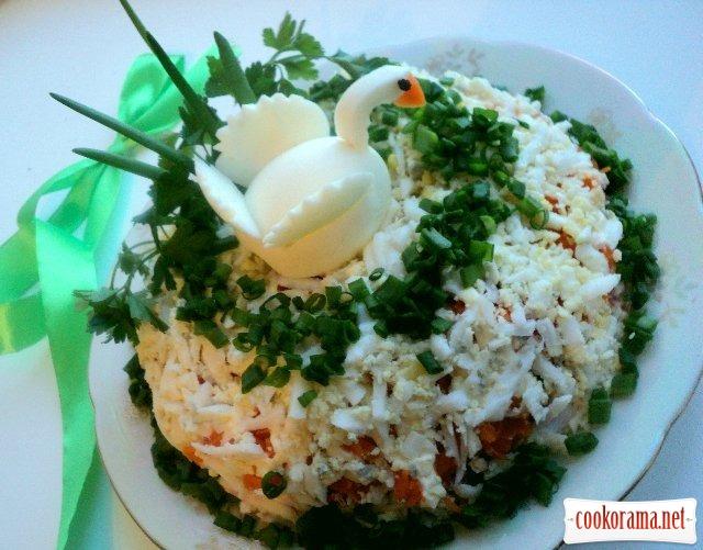 Салат с кальмарами «Лебединое озеро»