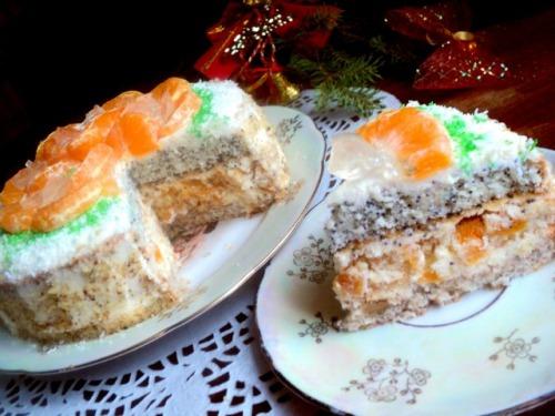 Торт «Мандарины на льду»