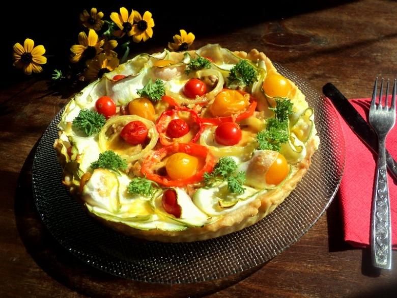 Тарт с овощами и курицей