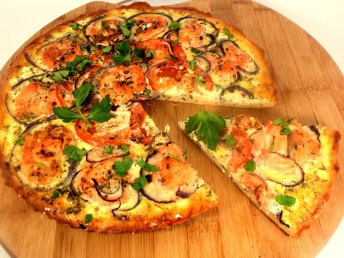 Pizza with salmon and cream cheese