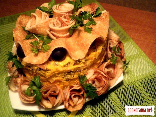 Блинно-печеночный торт рецепт