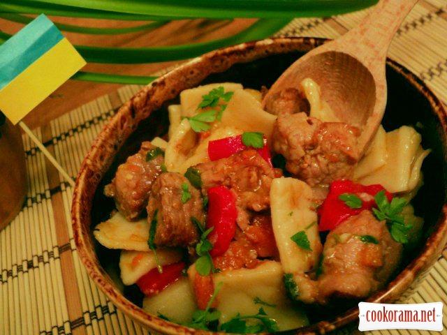 Душенина з овочами і галушками