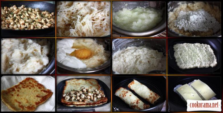 Картофельные драники с куриной начинкой