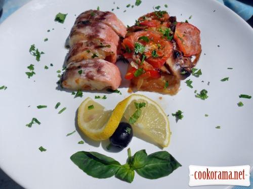 Креветочная рыба с овощами