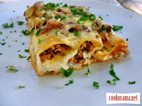 Cannelloni filled with meat stuffing, baked with mushrooms and cheese