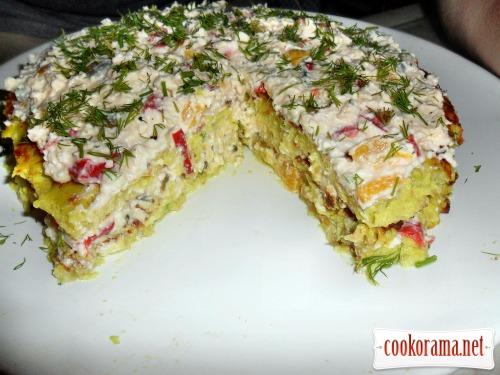 Кабачковый «Торт» с начинкой из сыра и овощей