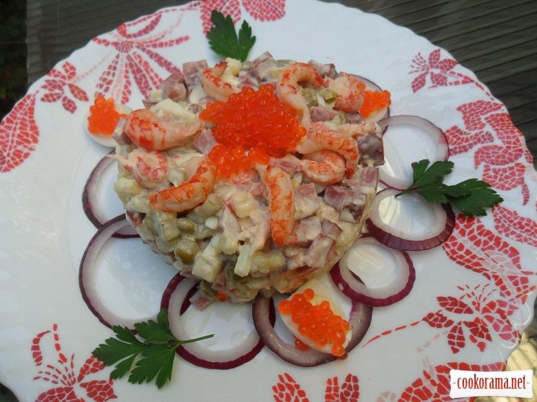Олів'є «Для буржуїв» (з перепелиними яйцями, раковими шийками, свинячим язиком)