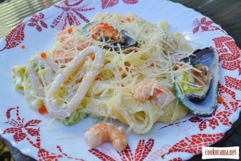 Паста с кальмарами рецепт