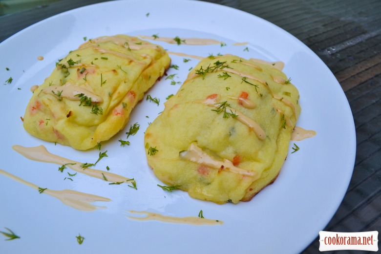 Dorada baked in puree with mushrooms and cheese Dor Blue