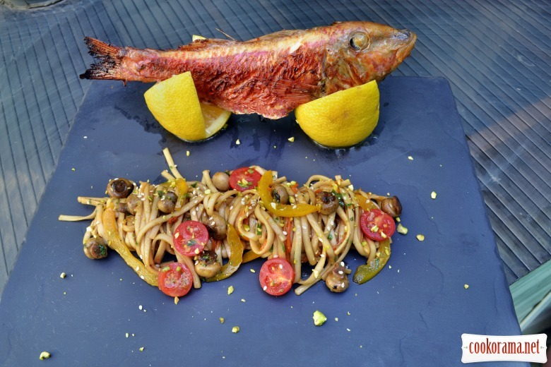 Asian style red mullet with noodles