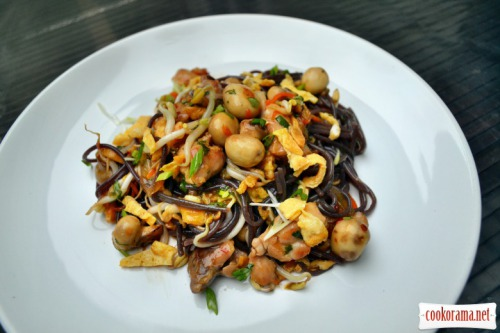 Black Japanese noodles with chicken, mushrooms, soy sprouts