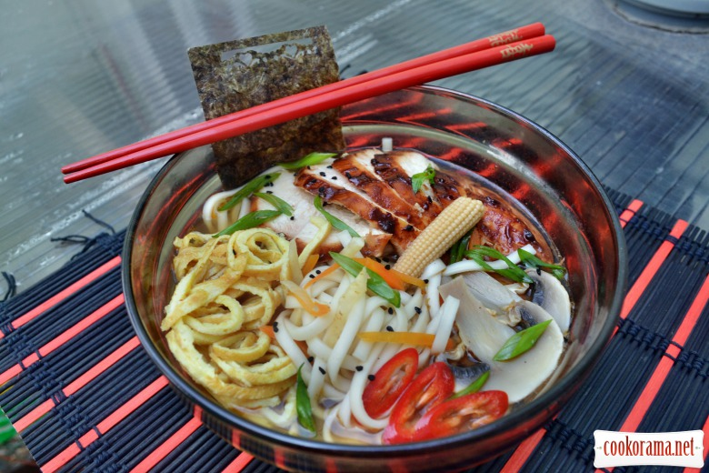 Japanese soup ramen, on triple broth, with hoisin chicken