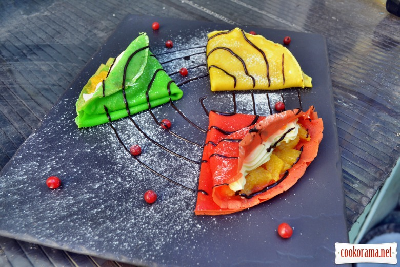 Colored pancakes with caramel orange and mascarpone cream