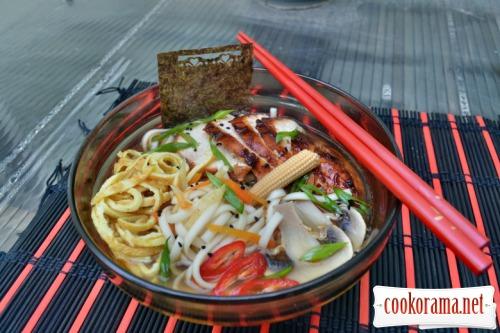 Japanese soup ramen, on triple broth, with hoisin chicken