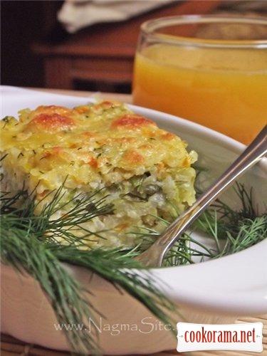 Запеканка из белокочанной капусты с рисом