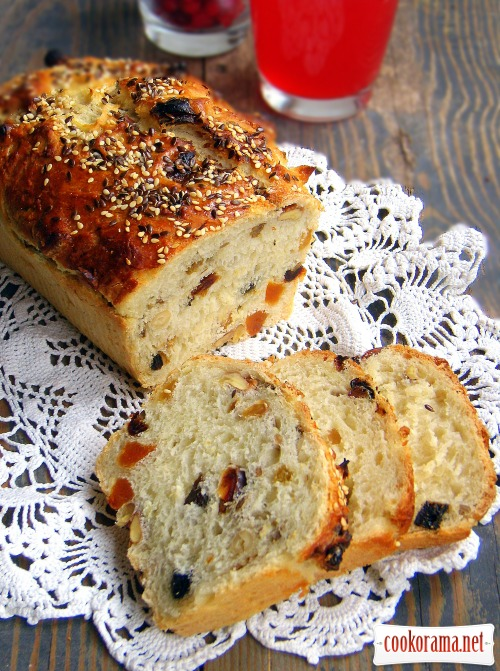 Dessert bread with dried fruit and nuts