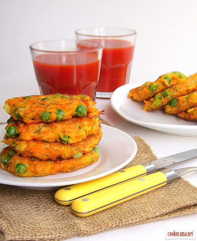 Pumpkin fritters with green peas