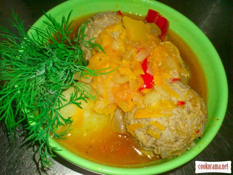 Мясные фрикадельки с овощами