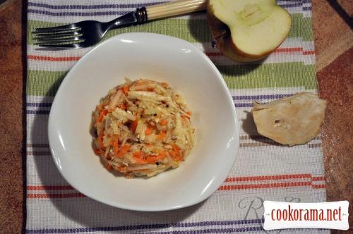 Салат з кореневої селери, яблука і моркви