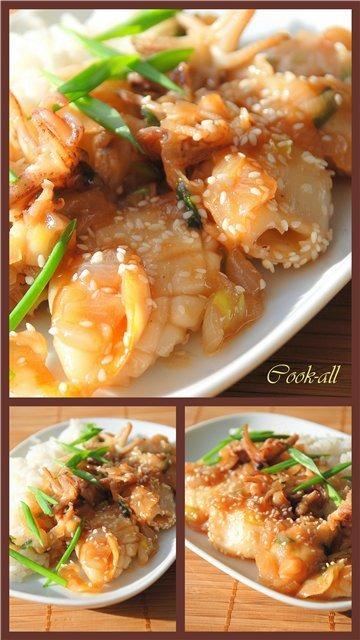 Мини-кальмары в устричном соусе