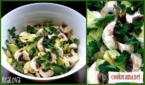 Салат з авокадо та грибами