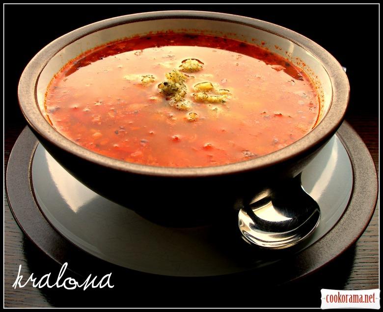 Гречнево-томатный острый суп