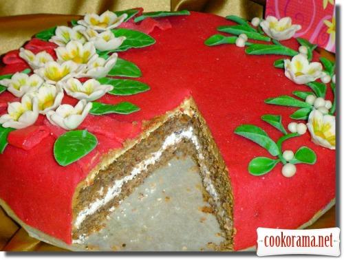 Торт «Зимние цветы»