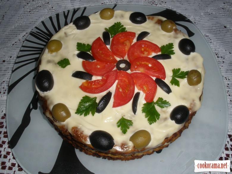 """Торт из баклажанов """"Обьедение"""""""