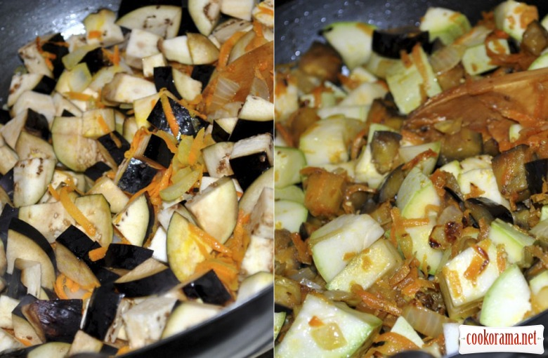 Vegetable squash from courgettes and aubergines