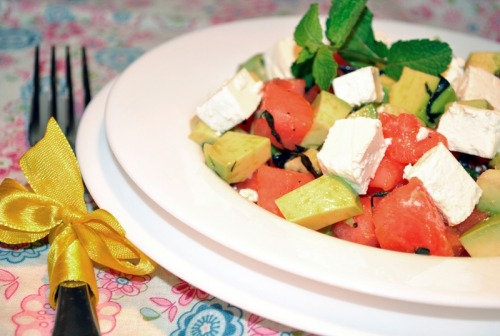 Salad with watermelon, avocado and feta