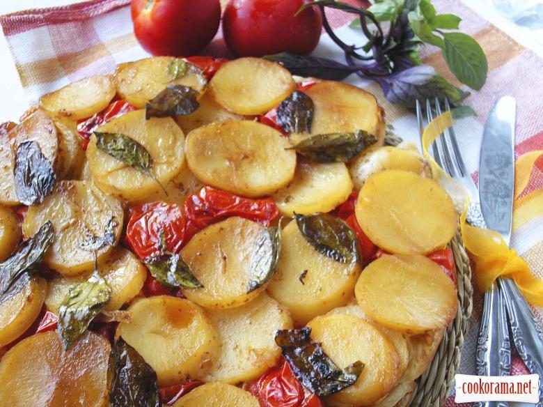 Тарт з молодою картоплею, помідорами та сиром