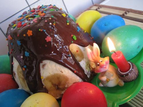 """Пасхальный кекс """"Творожная нежность"""" с бананами и финиками"""