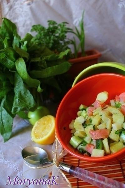 Салат картопляний з яблуком та горбушею