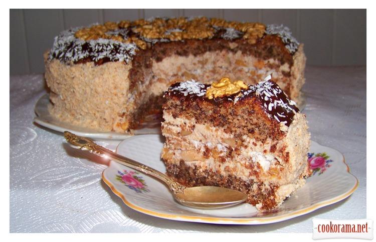 Торт ореховый (без муки) с ореховым безе