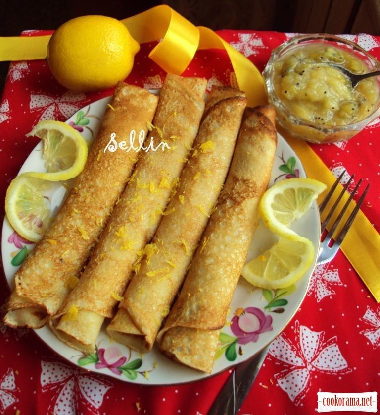 Лимонные блины с изумрудным конфитюром