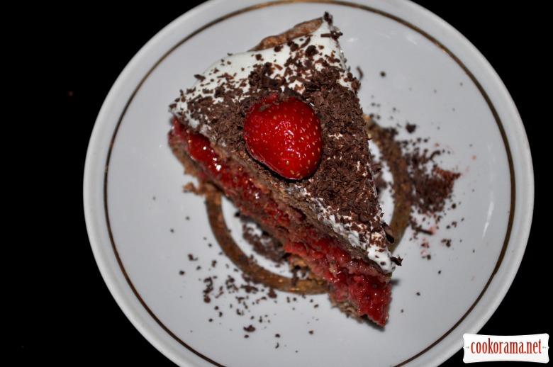 Полунично-сметанковий торт
