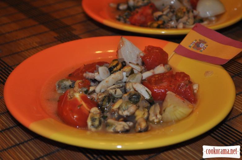 Морський коктейль з овочами у вині