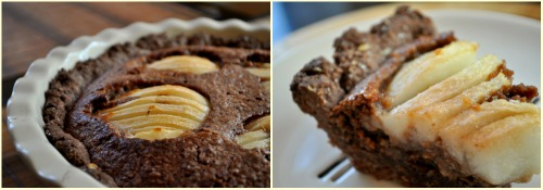 Вівсяний шоколадний пиріг з грушею