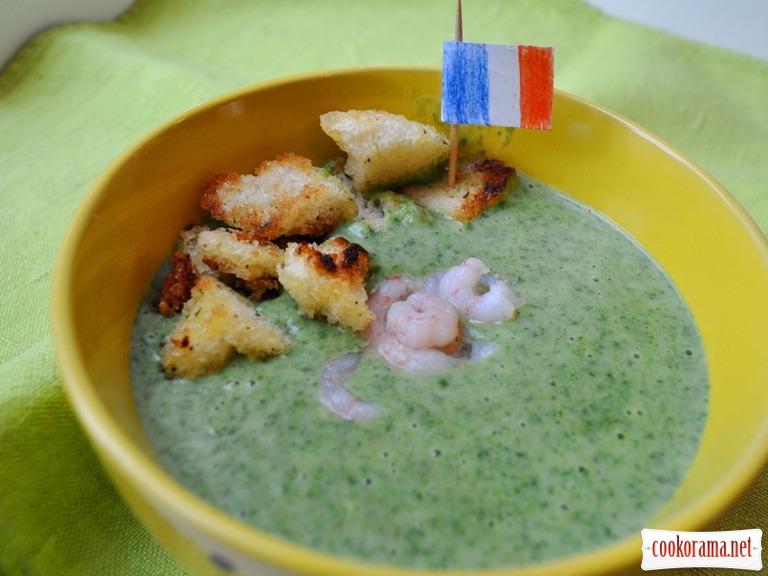 Крем-суп зі шпинатом, сиром і креветками