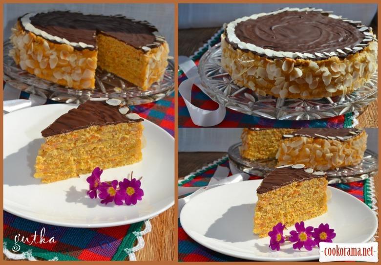 Моркв'яно-яблучний пісний торт з вівсяними пластівцями