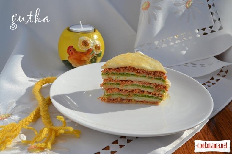 Млинцевий торт з м'ясом та броколі