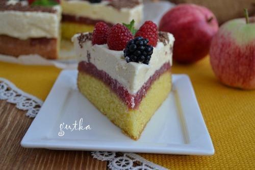 Торт с яблочным и сметанным желе