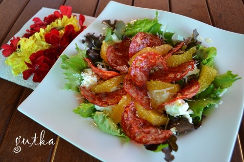 Spanish style salad with chorizo