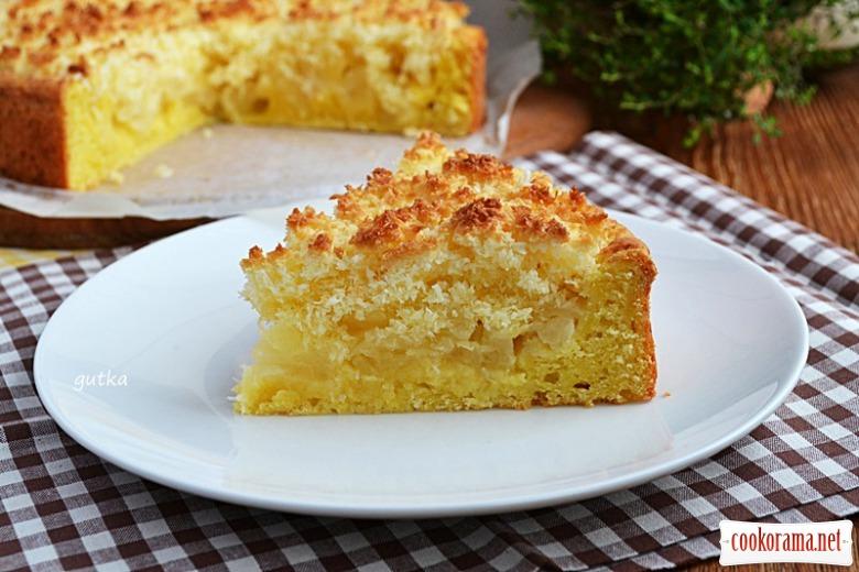Сирний пиріг з ананасами в кокосовій глазурі